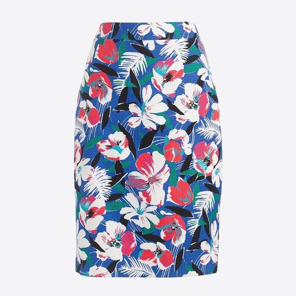 J.CREW Floral Basketweave Floral Pencil Skirt